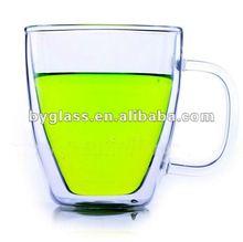 Borosilicato vidro duplo xícara de café pires