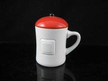 YF18621 embossed porcelain coffee mug with lid