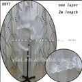 الجملة الجديدة hhv7 2011 طبقة واحدة ارتفع الدانتيل الخرز عينة حقيقية زفاف العروس الحجاب