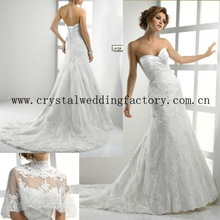 2012 vintage sweetheart beaded lace A-line custom-made chapel train wedding dress with borelo CWFaw3879
