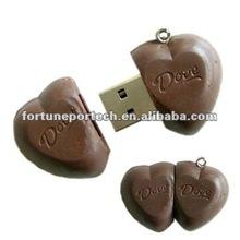 sweet chocolate usb in heart shaped, customized pvc usb memory