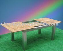 extendable aluminum frame teak wood outdoor Table