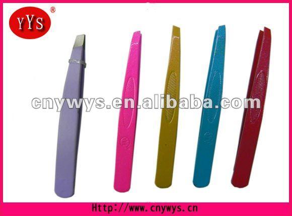 purple pink yellow blue and red colors. slant eyebrow tweezer