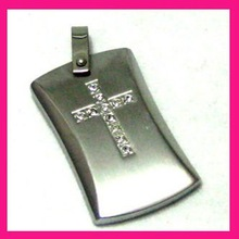 fashion stainless steel metal jewelry tag cross pendant laser engraved crystal setting pendant