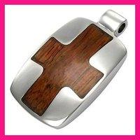 fashion custom metal and wood cross stainless steel jewelry pendant blanks