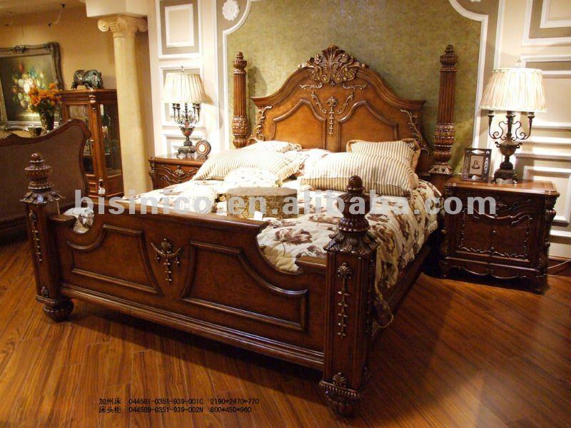 Ensemble de chambre à coucher antique de luxe, lit de roi