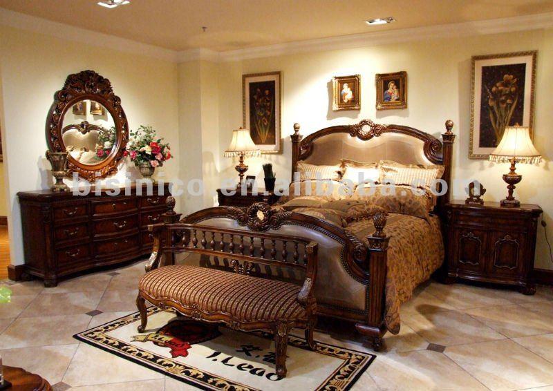 Antiguo juego de dormitorio cama king soporte de la - Comedores antiguos de madera ...