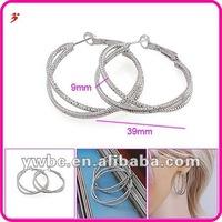 large European style double box chain hoop brass earrings (E630463)