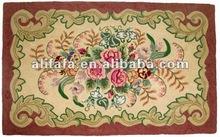 90line wool hook flower rug