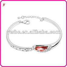 wholesale alloy silver plated rain drop shape with red crystal bangle for women jewelry accessory(B100908)
