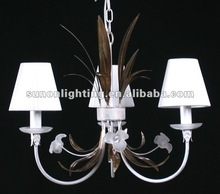Room's leaves and glass flower deroative metal art chandelier