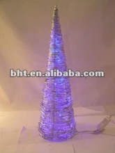 Silver rattan christmas cone tree with Blue LED lights