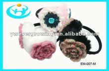 fashion lady knitted flower earmuff