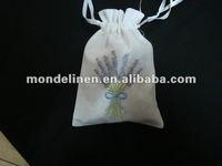 embroidery lavender linen bag