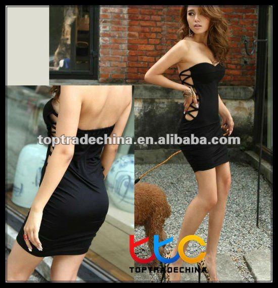 2012 women fashion without dress sexy dress club wear S10725-3 black ...