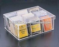 Acrylic milky tea storage Tea Bag 9 Compartment Box