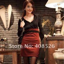 2012 New Winter Autumn Korean Women's Long Sleeve Sexy Thin Bag Hip Render Skirt Dress