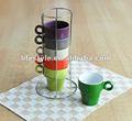 9oz taza de gres con color sólido, apilable juego de tazas