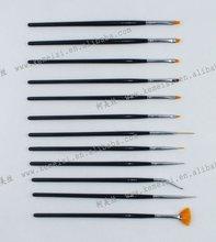 12 pcs Nylon Hair Nail Art Brush Set