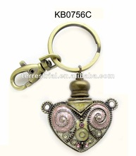 Heart metal key chain decorative perfume bottle for valentine's day birthday gift