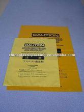 LLDPE virgin material dedicated asbestos yellow rubbish bag for janpan market