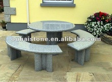 Grey Granite Table with Curved Benches