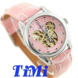 GOER Fashion Pink Mickey Dial Women Lady Girl Wrist Watch Automatic Leather