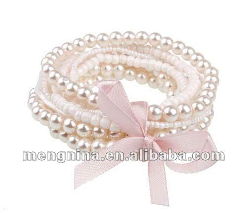 2012 de moda brazalete de perlas con cinta de color rosa( d09238)