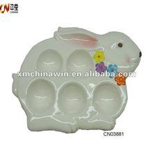 Ceramic cooking rabbit egg holder for easter party