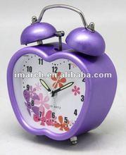 TB09401-01 Apple Shape Plastic Twin Bell Alarm Clock