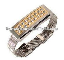 fashion diamond golden wristband bracelet jewelry USB flash drives