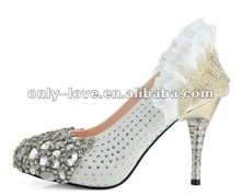 BS208 handmade high heel fully crystals front bridal wedding shoes