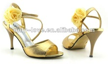 BS218 real sample flower women's golden sandals party sandal