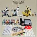 Complete kit tatuagem 3 nova máquina de tatuagem de tinta 20 2 preto cores grip de alimentação agulha diy-151