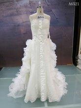 (A6521) Guangzhou Stephanie Professional Manufacture Top Bride Satin &rganza 2012 Hotsale Wedding Dress with Detachable Train