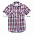 Hombre de manga corta ocasional de la camisa, Hecho de algodón, T / C o cvc, Con doble bolsillo y el contraste de tela