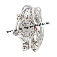 Stylish White Leather Wrap Band Watch,leather band stone face watch