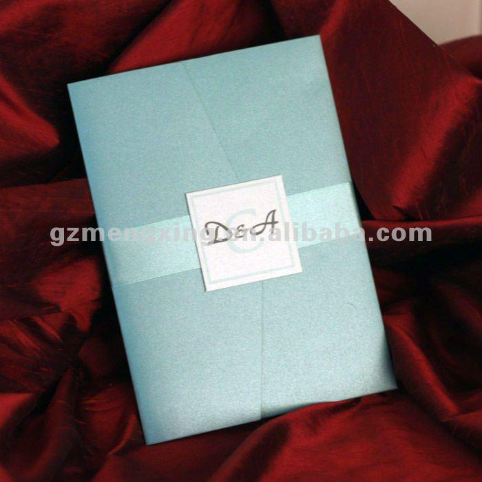 Tiffany Blue wedding invitations with RSVP custom text and rhinestone