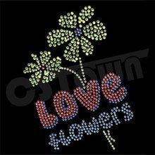 2012 Magic love hotfix rhinestone flower motif