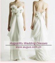 AWB0333 2012 Unique Beach Style Handmade Flower Chiffon Bridal Gowns