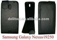 black flip leather case for Samsung Galaxy Nexus/i9250