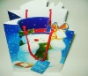Fancy blue snowman shape foldable paper gift/packaging bag with cute tag