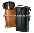 Black leather wine bag,wine tote,wine carrier,wine holder,two bottle wine bag,wine gift