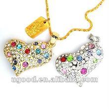 Heart Jewelry usb pen memory/necklace usb pen memory