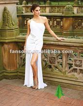 Newest free shipping ruffled chiffon split white chiffon evening gown