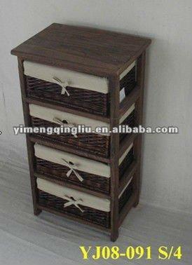 Meubles en bois avec panier de rangement en osier - Meuble de rangement avec panier ...