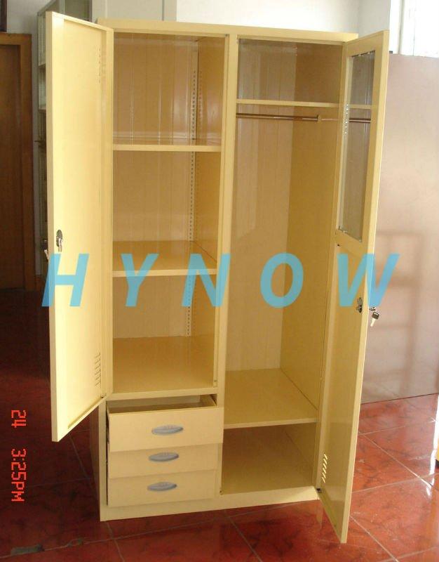 Fashionable bedroom steel wardrobe cupboard with mirror for Bedroom cupboard designs with mirror