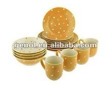 16pcs Ceramic dinner set with polka dot design