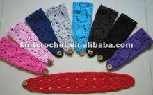 Crochet Cotton Headband with Button Closure, Baby Girl Headband Hair Band