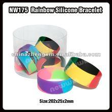 Rainbow silicone bracelet/wide silicone wristband/wrist bands silicone